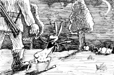 treacherous: Treacherous Hare. Hand drawn sketch with ink and pen on paper