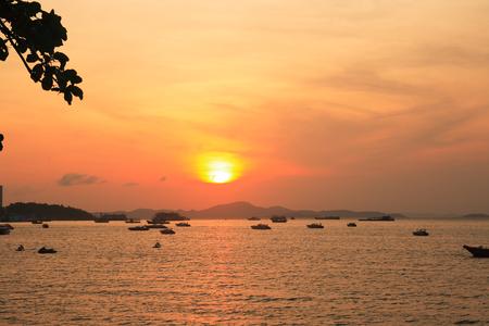 Nice evening landscape with sunset under calm sea