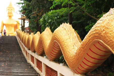 Detail of a Buddhist temple in Pattaya, Thailand. Big Buddha