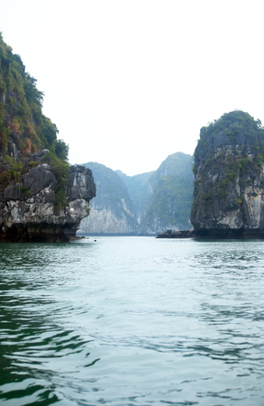 View of rock islands at famous Halong Bay in Vietnam Stock Photo