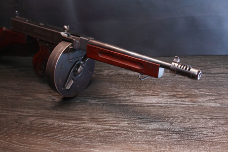 Old USA submachine gun closeup on dark background Stok Fotoğraf