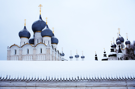 Nice white ancient Russian Cathedral at winter. Rostov, Russia 写真素材