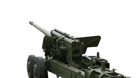World War II Soviet cannon isolated on white background.