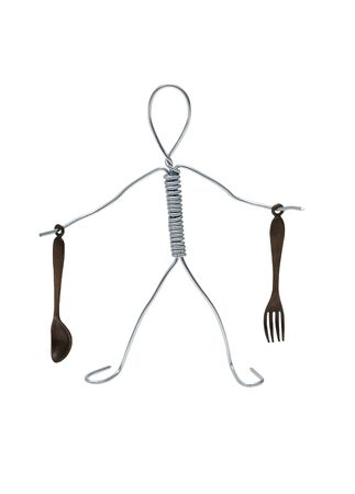 Man made from aluminum wire holding spoon and fork