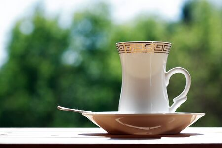 Elegance cup of black coffee under sunlight against green background