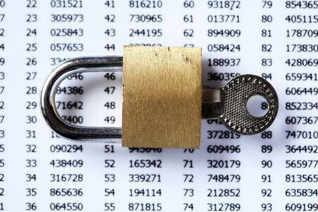 Financial security concept. Padlock and key on white plastic card with digits