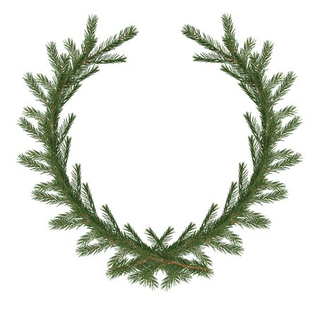 Christmas decoration. Fir twigs as wreath on white background