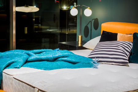 Beautiful advertizing interior of the apartment. A bed for sale. Decor. Furniture. Reklamní fotografie - 122673980