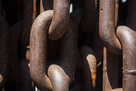 Background or texture from big metal and rusty chains and links