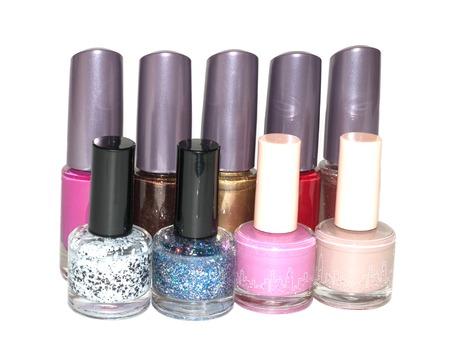set of multi-colored nail polish isolated on white background Stock Photo
