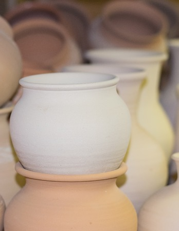 antiquity: Very beautiful tableware made of clay. Handmade. antiquity concept. Stock Photo
