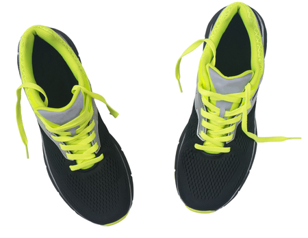 Mens shoes for jogging isolated on white background. View from above.