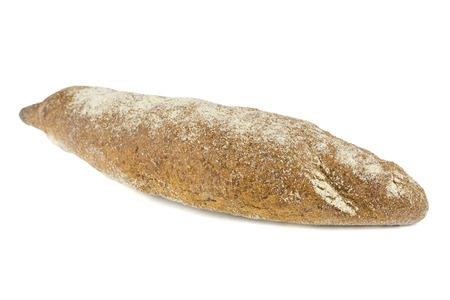 Freshly made baguette from wheat flour isolated on white background. An integral part of a healthy diet.