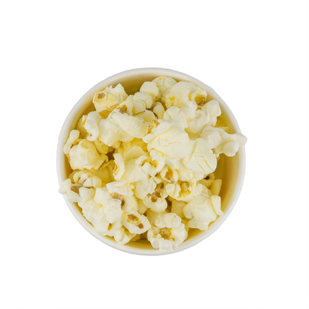Popcorn in multi-colored festive glass isolated on a white background. The view from the top. Stock Photo