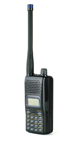 Modern professional walkie-talkie isolated on white background. Special device for negotiations. Stock Photo