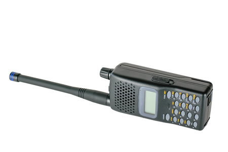 Modern mobile radio lying on the right side isolated on a white background. Special device for negotiations. Stock Photo