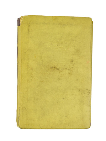 Old yellow book isolated on white background. Black and white. Flat lay The view from the top.