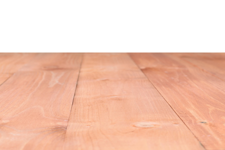 The surface of the wooden brown table isolated on a white background. Blank for design.