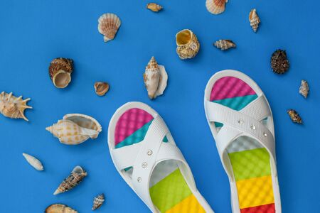 Colorful shoes and a lot of sea shells on a blue background. The concept of a holiday by the sea. Flat lay. The view from the top. 스톡 콘텐츠