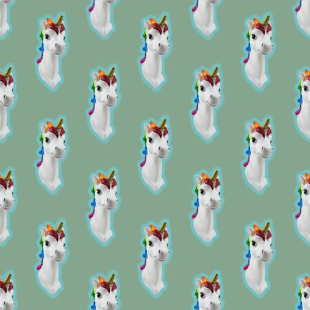 Seamless pattern of glowing unicorn heads on green background. Trend. Minimalism. Lifestyle. Contemporary art collage.