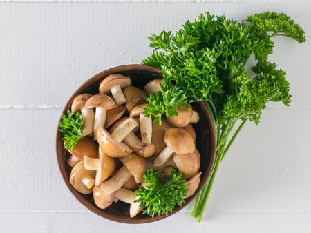 Bowl with fresh forest mushrooms decorated with parsley on a white table. Natural vegetarian cuisine. The view from the top. 写真素材