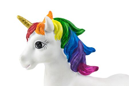 The left side of the unicorn is covered with white background. Trend. Minimalism. Lifestyle.