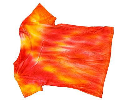 Bright t-shirt in tie dye style isolated on white background. Staining fabric in tie dye style.