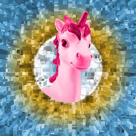 Portrait of a pink unicorn on an abstract background. Trend. Minimalism. Lifestyle. Contemporary art collage. Stock Photo