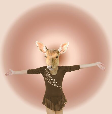Modern art collage. The dancing girl with the head of a deer on an abstract background. Minimalism. 스톡 콘텐츠