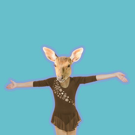 Modern art collage. The figure of a girl with a deer head on a blue background. Minimalism.