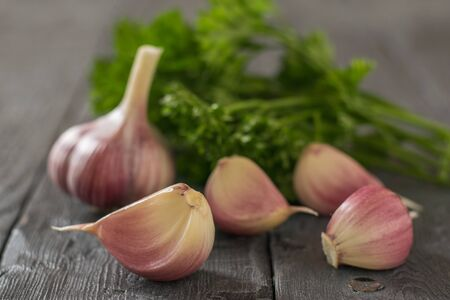 Large fresh garlic with parsley leaves on a wooden table. Healthy natural seasoning. Component of traditional medicine.