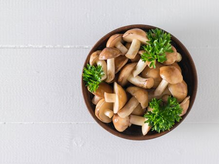 A bowl of wild mushrooms and parsley leaves on a white wooden table. The view from the top. Natural vegetarian cuisine. Stockfoto