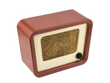 Original vintage radio isolated on white background. Radio engineering of the past time. Retro design.