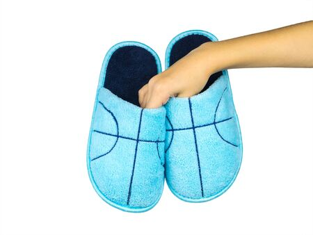 Blue beautiful home Slippers isolated on white background. Comfortable home shoes.