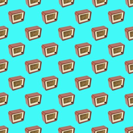 Seamless pattern of vintage radios on turquoise background. Radio engineering of the past time. Retro design. Imagens