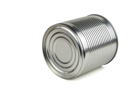 A tin can lying on its side isolated on a white background. Universal container for canning.