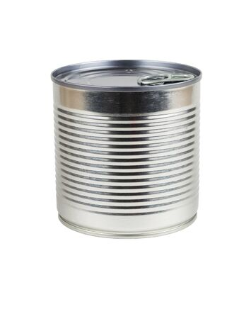 Side view of a closed tin can isolated on a white background. Universal container for canning. Stock Photo