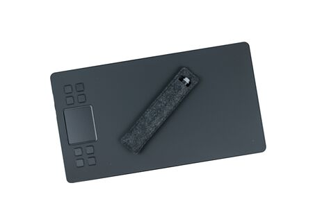 Pencil in a case and a graphic tablet isolated on a white background. A device for working in image editors.