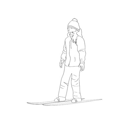 A girl in a warm ski suit isolated on a white background. Teaching a child to ski.
