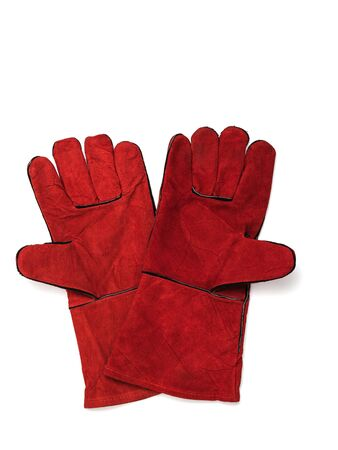 A pair of red welding gloves isolated on a white background. Protective accessory for welding operations.