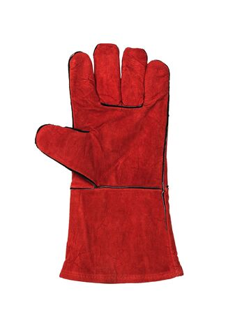 Right welder's glove isolated on a white background. Protective accessory for welding operations. Foto de archivo