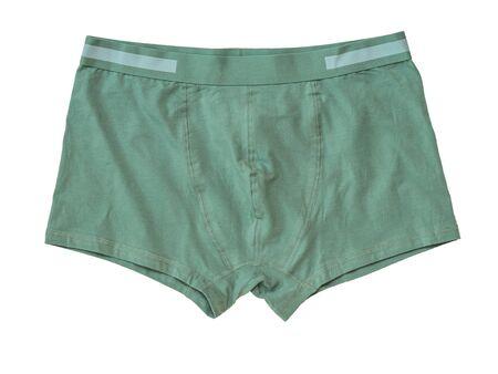 Green men's underwear isolated on a white background. Men's underwear.