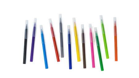 A set of capped markers isolated on a white background. Universal markers for school, office, and Hobbies.