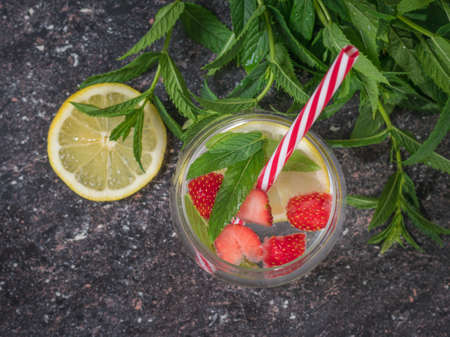 Mint leaves and a mug of cold water with lemon and berries. Freshly prepared refreshing drink with berries, lemon and mint.