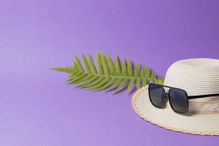 A large hat with sunglasses and a palm leaf on a lilac background. Concept of recreation on the sea coast.