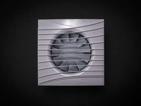 Channel white fan on a black background. Equipment for the removal of dirty air. Stock Photo
