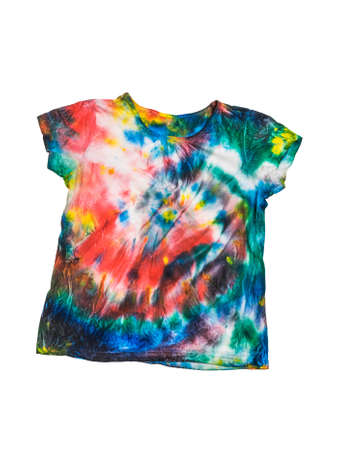 Multi-colored tie dye t-shirt isolated on a white background. White clothes painted by hand. Reklamní fotografie