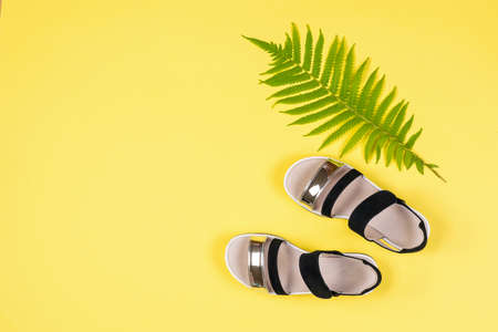 Top view of black and white sandals and a palm leaf on a yellow background. Concept of recreation by the sea.