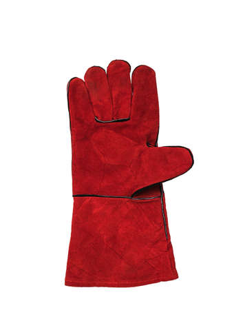 Right welder's glove isolated on a white background. Protective accessory for welding operations. Stock Photo