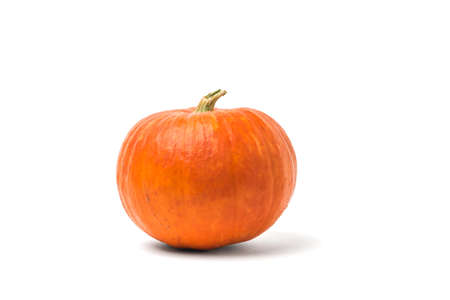 Ripe pumpkin with a dry tail isolated on a white background. Isolated pumpkin fruit.